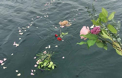 Roses going in the ocean - Burial at Sea
