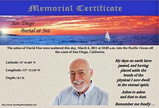 Memorial Certificate for Ash Scattering at Sea - Burial at Sea