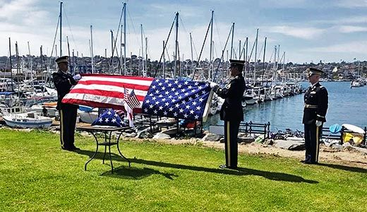 Military Honors before a burial at sea