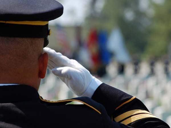 Military Salute in National Cemetery at Veteran Funeral