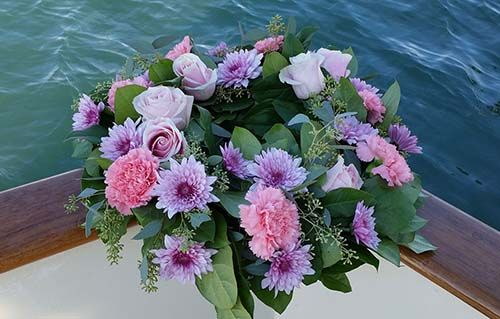 Wreath with Purple Flowers for ash scattering - Burial at Sea